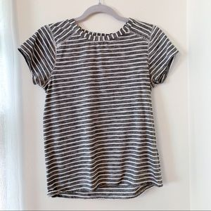 Striped Tee with Crochet Detailing